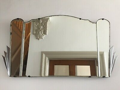 Art Deco 1930s Vintage Frameless Bevelled 3-Panel Fan Mirror Antique 59cm m250