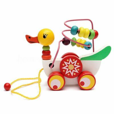 Wooden Duck Trailer Mini Around Beads Educational Game Wooden Toy For Kid C G2I4