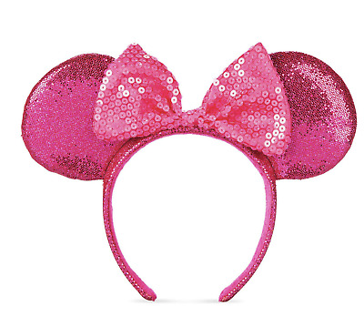 Disney Parks Minnie Mouse Glitter and Sequin Ear Headband Imagination Pink New