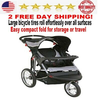 Baby Trend Expedition Jogger Stroller padded seat storage basket 2 cup holders