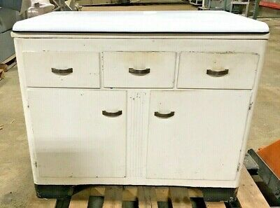 Antique Cabinet Wooden Kitchen Furniture With Removable Ceramic Top White
