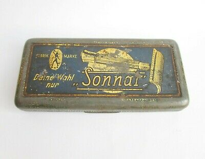 VINTAGE ANTIQUE GERMAN SONNAL DOUBLE EDGE SAFETY RAZOR empty LITHO TIN CASE