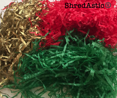 ShredAstic ® Xmas Shredded tissue paper red,green,gold Mix Hampers Gift Baskets