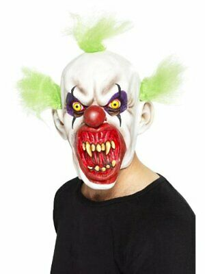 Scary Clown Mask with Green Hair Evil Halloween Fancy Dress Kids Adult Boys Mens