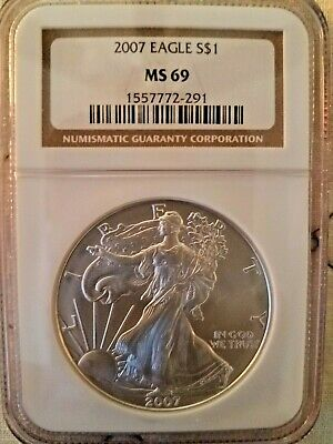 2007 $1 American Silver Eagle Ngc Ms69 Classic Brown Label