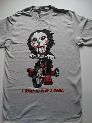 Saw Horror Movie Jigsaw Puppet on Bike I Want To Play A Game T-Shirt
