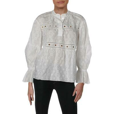 05b8e1538a778c See by Chloe Womens White Embroidered Eyelet Pullover Top Blouse 34 BHFO  0088