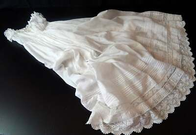 Heirloom Vintage French Christening Gown in Finest Lawn with Embroidery, Lace ..