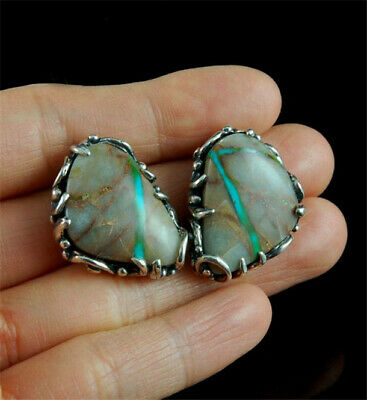 925 Silver Pear Cut Natural Turquoise Ear Studs Birthday Party Jewelry Earrings