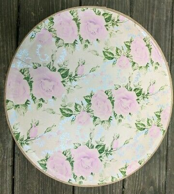 """Vintage Round Hat Box Shabby Chic Pink Rose 11"""" x 7"""" Cardboard Cord Rope Handle"""