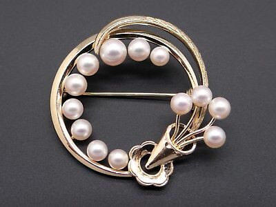 Mikimoto 14k Yellow Gold Round Pearl Cluster Circle Swirl Flower Brooch Pin