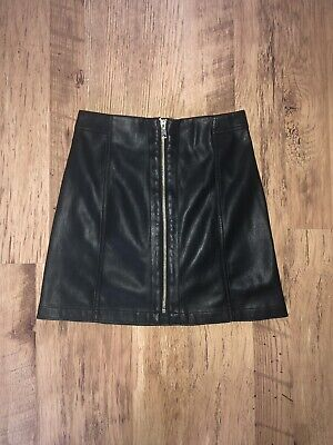 5c1096bb92 Girls River Island Black Leather Look Skirt Age 10 Years In Excellent  Condition