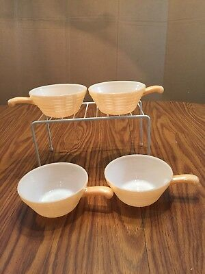 4 Fire King Handled Bowls Peach Lustre Oven Ware USA Beehive French Onion Soup