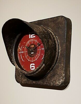 Vintage Industrial Metal Rustic Traffic Light  Square Wall Art Clock Man Cave