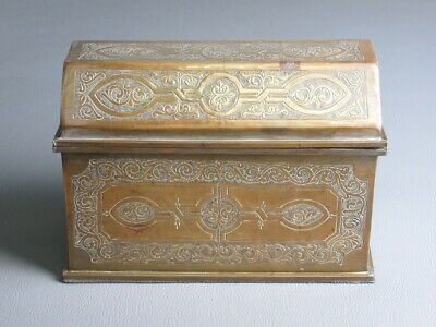 Vintage Box Box Treasure Brass Engraved Hand Period Xx Sec.