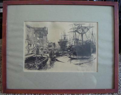 "Otto Bacher Original 1880 Etching ""Fondamenta Delle Zaterre"" Signed In The Plate"