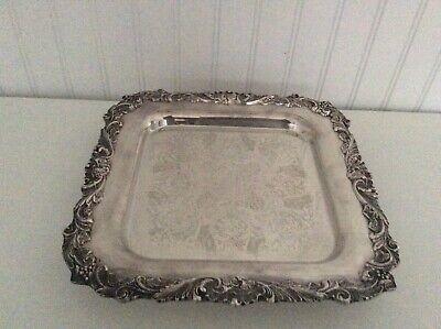 """Sheffield Footed Silver Plate Serving Tray 12"""" Grape Leaves Vines #204 - EXC"""