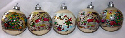 """Vintage Christmas Glass Mouse Family Wrapped Ornament 3"""" Set of Five"""