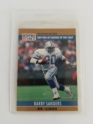 Barry Sanders 1989 Pro Set Rookie Of The Year The Official Nfl Card
