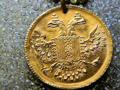 Antique British Double Headed Eagle Brass Token Coin Pendant Necklace