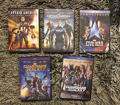 Captain America Trilogy &  Guardians of the Galaxy 1 & 2 DVD Pack Free Shipping!