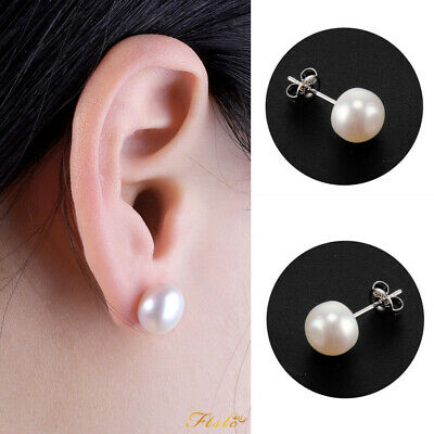AAA Freshwater Cultured Pearl & Sterling Silver Ball Studs Earrings 8mm to 10mm