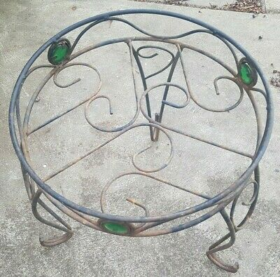 VINTAGE CAST IRON WIRE GARDEN STAND - UNIQUE with GLASS Inserts