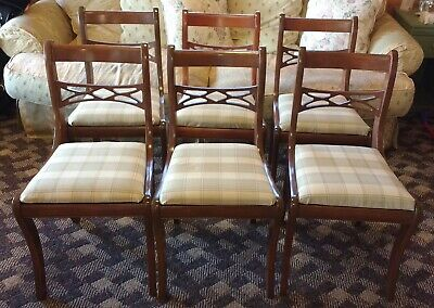Vintage Duncan Phyfe Dining Chair Side Mid Century Mahogany Yellow Green Plaid