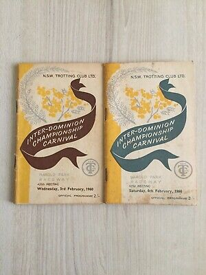 1960 Harold Park Inter Dominion Grand night 2 and 3 trotting race books