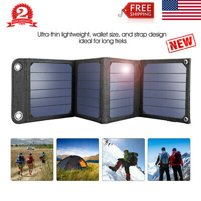 Suaoki 14W Solar Panel Portable Battery Charger Power Bank USB 5V 2.1A For Phone