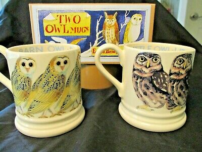 Emma Bridgewater -   Pair (2) Owl Mugs - Barn & Little Owls - New In Box