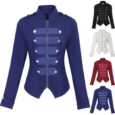 Womens Ladies Girls Military Style Stand Collar Jacket Stretchy Top Size XS-2XL