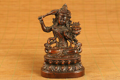 antique old boxwood hand carved tibet buddha bless statue netsuke collectable