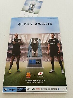 Gallagher Premiership Rugby Final 2019 Programme With Ticket Exceter v Saracens
