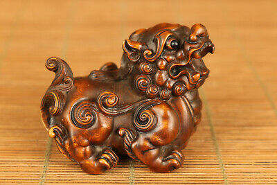 Lovely chinese old boxwood hand carved Kirin statue netsuke collectsble gift