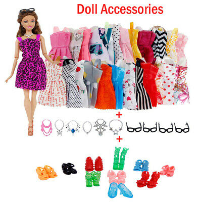 For girls Barbie Doll Accessories Dresses Necklaces Glasses Shoes Toy Gifts 30pc