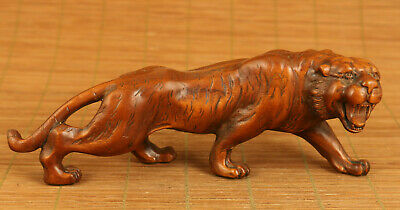 old boxwood hand carved tiger statue netsuke collect table home decoration gift