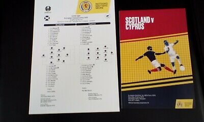 Scotland V Cyprus programme  and  teamsheet 2019