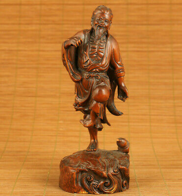 Rare Asian old boxwood hand carved old fisherman statue netsuke collectable gift