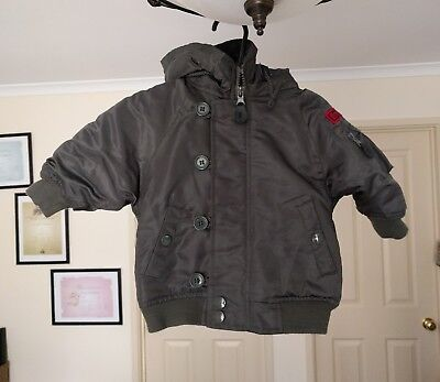 Cotton On Kids Baby Boys army green hooded Jacket coat size 0-1 BNWOT
