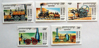 Trains,  Cambodia 1995 Issue, Railway Thematic UMM Stamps.