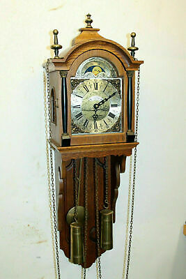 Old Wall Clock Friesian Dutch Schippertje Clock Vintage with Moonphase