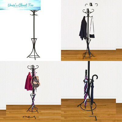 Gray Bunny GB-6808 Metal Coat Rack Black Umbrella Holder for Home or Office Hall Tree Hat Stand