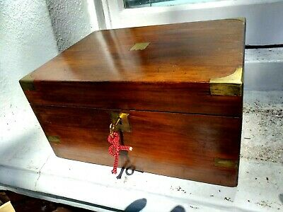 Walnut & Brass Writing slope With Working Lock &key &a Screw top inkwell