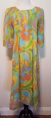 Vintage 1970's Pleated Sheer Cotton Voile Psychedelic Dress Vibrant Colors