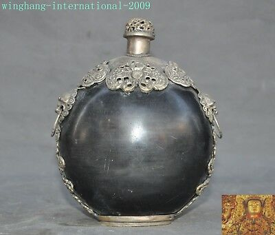 Antique old China Ox horn inlay Tibet silver bat lion beast surface snuff bottle