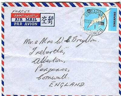 SINGAPORE postal cover  Forces Mail to Penzance 1966