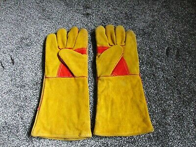 """WELDING LEATHER GLOVES GAUNTLETS LARGE Size 10  15"""" long"""