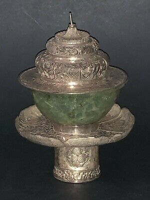 Fine Chinese Tibetan Solid Silver Embossed Carved  Green Jade Cup Bowl Stand