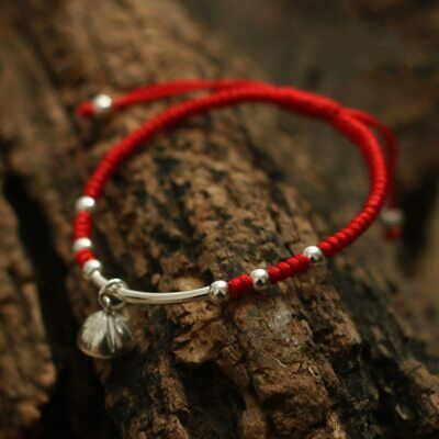 S925 Sterling Silver Lotus  Lucky Red Rope  Bracelet  Handmade Bangle  Wax